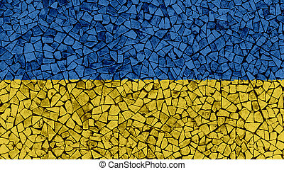 Mosaic Tiles Painting of Ukraine Flag