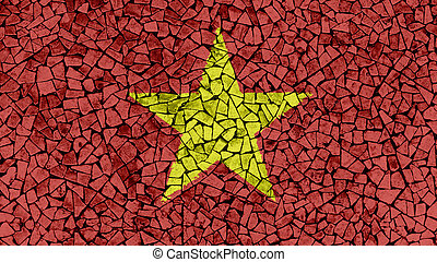 Mosaic Tiles Painting of Vietnam Flag