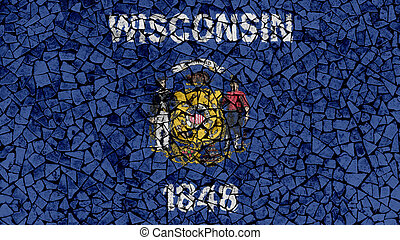 Mosaic Tiles Painting of Wisconsin Flag