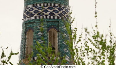 Mosaic tower obscured by branches - A medium, still shot of...