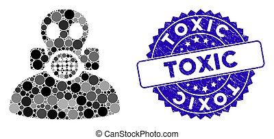 Mosaic Toxic Work Icon with Scratched Toxic Stamp
