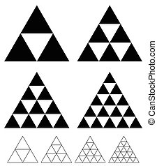 mosaic triangle elements with wireframe grid. tessellation,...