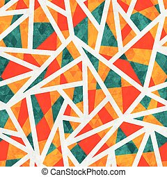 mosaic triangle seamless pattern with grunge effect