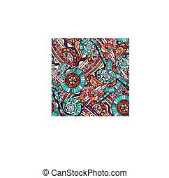 Mosaic tribal doddle ethnic seamless pattern.