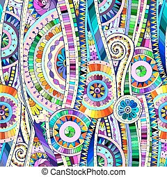 Mosaic tribal doddle ethnic seamless pattern. - Original...