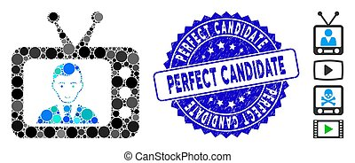 Mosaic TV Dictor Icon with Scratched Perfect Candidate Seal