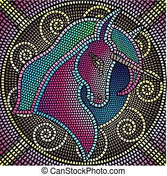 mosaic unicorn - mosaic tiles forming a unicorn, vector...