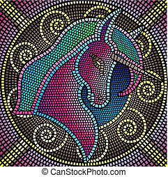 mosaic tiles forming a unicorn, vector illustration