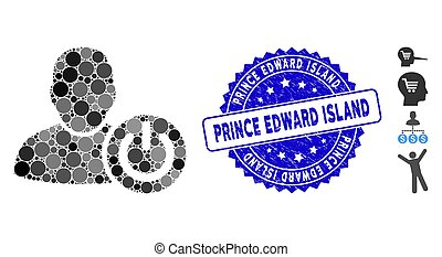 Mosaic User Log Off Icon with Distress Prince Edward Island Stamp