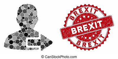 Mosaic User Logout Arrow with Grunge Brexit Seal