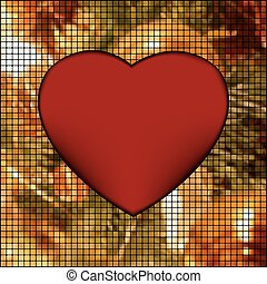 Mosaic valentine card with heart. EPS 8