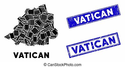 Mosaic Vatican Map and Grunge Rectangle Seals