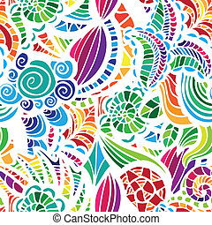 Mosaic vector seamless pattern with flowers