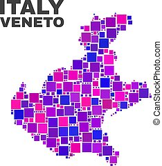 Mosaic Veneto Region Map of Square Items - Mosaic Veneto...