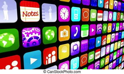 Mosaic wall of application icons - Mosaic wall of colourful...