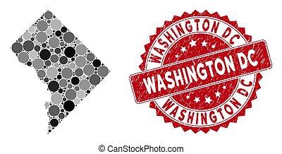 Mosaic Washington DC Map and Grunge Circle Stamp Seal