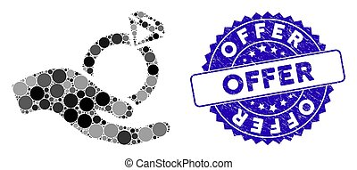 Mosaic Wedding Ring Offer Hand Icon with Textured Offer Stamp