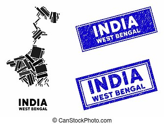 Mosaic West Bengal State Map and Distress Rectangle Stamp Seals
