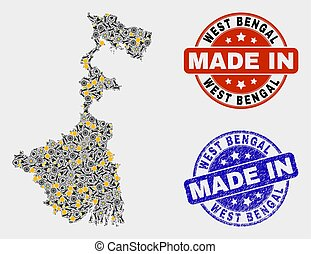 Mosaic West Bengal State Map of Industrial Elements and Made In Grunge Seal