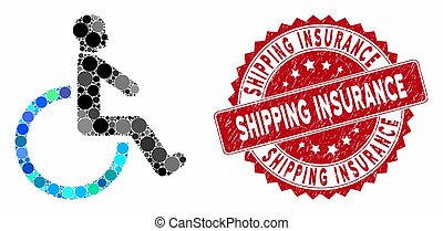 Mosaic Wheelchair with Textured Shipping Insurance Stamp