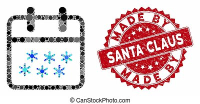 Mosaic Winter Day with Textured Made by Santa Claus Stamp