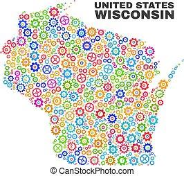 Mosaic Wisconsin State Map of Cogwheel Items