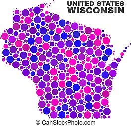 Mosaic Wisconsin State Map of Spheric Items