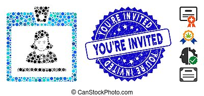 Mosaic Woman Badge Icon with Distress You'Re Invited Stamp