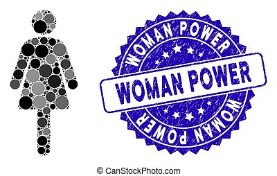 Mosaic Woman Icon with Distress Woman Power Stamp