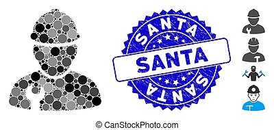 Mosaic Worker Icon with Textured Santa Stamp