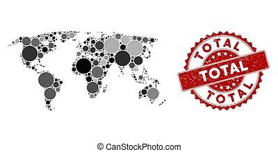 Mosaic World Map and Grunge Circle Stamp Seal