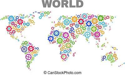 Mosaic World Map of Gear Elements