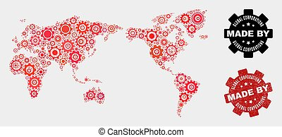Mosaic World Map of Gearwheel Elements and Grunge Stamp