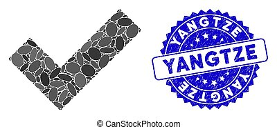 Mosaic Yes Tick Icon with Scratched Yangtze Seal