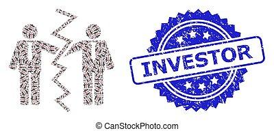 mosaico, ícone, fractal, investidor, homens negócios, ...