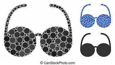mosaico, ícone, itens, spheric, espetáculos