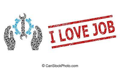 mosaico, amor, reparar, selo, recursive, angústia, serviço, ícones, trabalho, selo