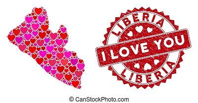mosaico, amore, afflizione, liberia, mappa, sigillo, cuore