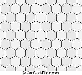 mosaico, bianco, seamless, bagno, astratto, illustrazione, lastricatore, vettore, disegno, blocks., modello, grigio, esagonale, tegole relativo ceramica, struttura, decorazione, geometrico, concreto, floor.