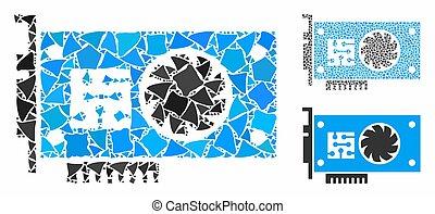 mosaico, brusco, partes, acelerador, icono, tarjeta, gpu