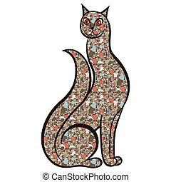 mosaico, caricatura, gato