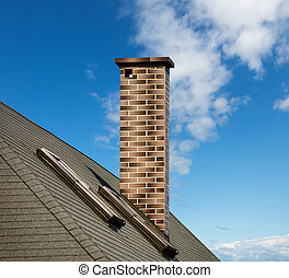 mosaico, chaminé, telhado
