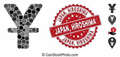 mosaico, chino, estampilla, hiroshima, icono, yuan,...