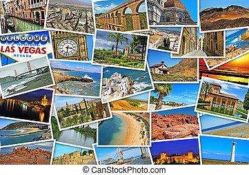 mosaico, com, quadros, de, diferente, lugares, e, paisagens,...