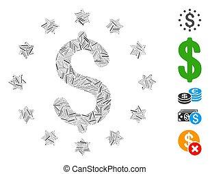mosaico, dólar, starred, línea, icono