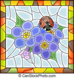 mosaico, de, azul, forget-me-not.