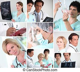 mosaico, de, vário, equipe funcionários hospital
