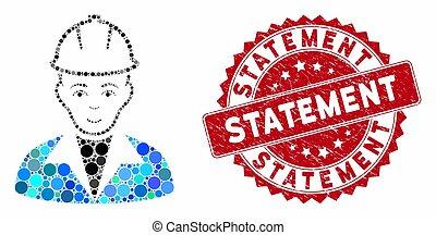 mosaico, declaração, selo, engenheiro, angústia