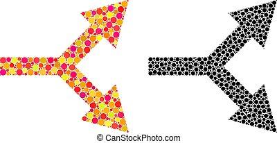mosaico, destra freccia, biforcazione, icone, pixel