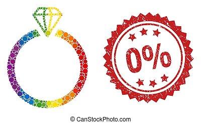 mosaico, diamante, estampilla, arco irirs, 0%, anillo caucho